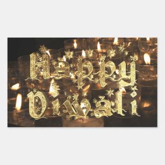 Adesivo Retangular Preto feliz de Diwali e estrelas da luz de vela do