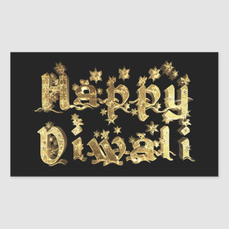 Adesivo Retangular Preto feliz de Diwali e texto elegante das