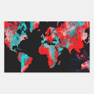 Adesivo Retangular preto vermelho do mapa do mundo