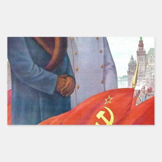 Adesivo Retangular Propaganda original Mao Zedong e Josef Stalin