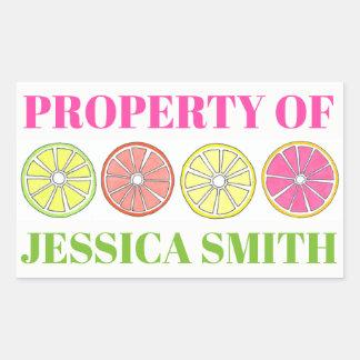 Adesivo Retangular Propriedade do limão personalizado do limão dos