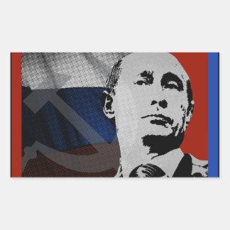 Adesivo Retangular Putin com bandeira do russo