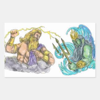 Adesivo Retangular Raio de Zeus contra o tatuagem de Poseidon Trident