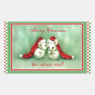 Adesivo Retangular Ratos do natal vintage com os chapéus vermelhos do