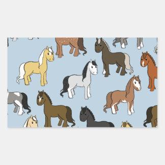 Adesivo Retangular Rebanho bonito dos cavalos