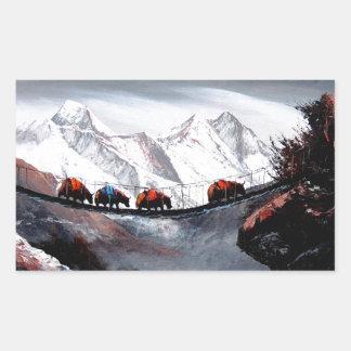 Adesivo Retangular Rebanho de iaques Himalaya da montanha