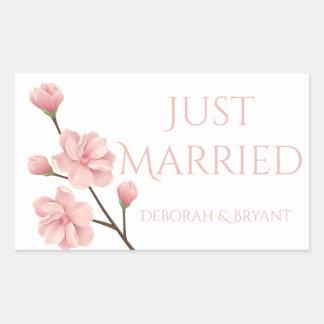 Adesivo Retangular Recem casados que Wedding a flor cor-de-rosa da