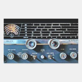 Adesivo Retangular Receptor de rádio de onda curta do vintage