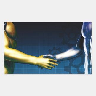 Adesivo Retangular Rede da integração do negócio com as mãos que