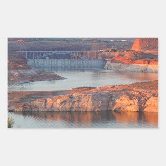 Adesivo Retangular Represa e ponte no nascer do sol