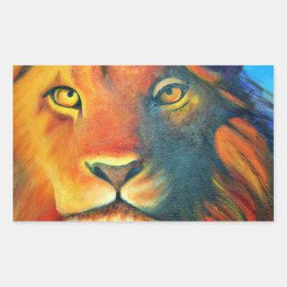 Adesivo Retangular Retrato bonito da cabeça do leão régio e orgulhoso
