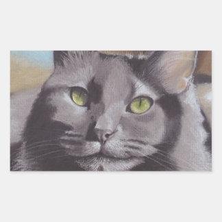 Adesivo Retangular Retrato cinzento do animal de estimação do gato