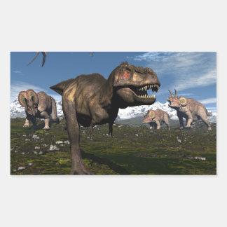 Adesivo Retangular Rex do tiranossauro atacado pelo dinossauro do