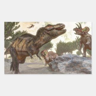 Adesivo Retangular Rex do tiranossauro que escapa do ataque do