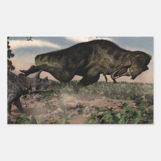 Adesivo Retangular Rex do tiranossauro que ruje em um triceratops