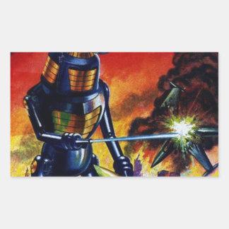 Adesivo Retangular Robô estrangeiro mau