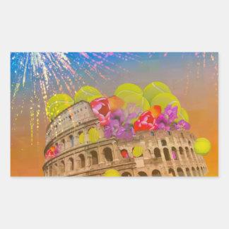 Adesivo Retangular Roma comemora a estação com bolas de tênis, flores