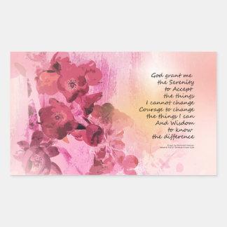 Adesivo Retangular Rosa da cerca 3 do marmelo da oração da serenidade