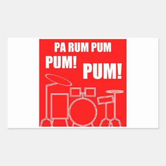 Adesivo Retangular Rum Pum Pum Pum do Pa