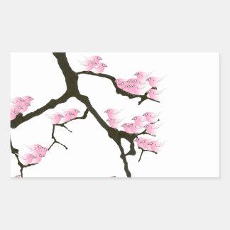 Adesivo Retangular sakura com os pássaros cor-de-rosa por fernandes