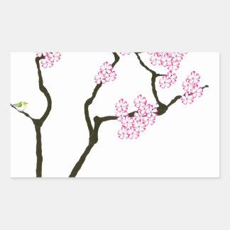 Adesivo Retangular sakura com pássaro verde, fernandes tony