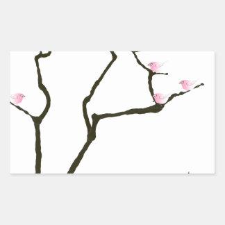 Adesivo Retangular sakura e 7 pássaros cor-de-rosa 1, fernandes tony