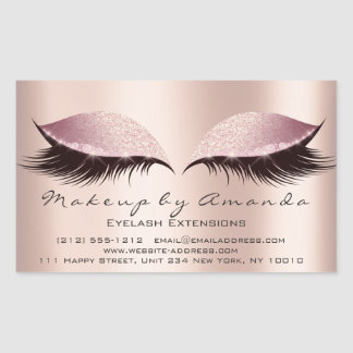 Adesivo Retangular Salão de beleza do maquilhador do rosa da extensão
