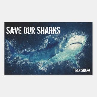 Adesivo Retangular Salvar nosso tubarão de tigre dos tubarões
