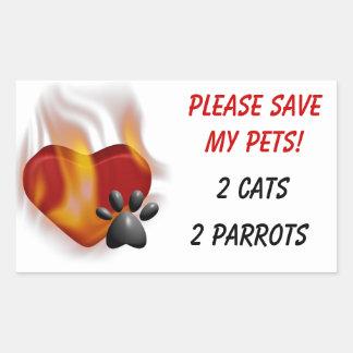 Adesivo Retangular Salvar por favor meus animais de estimação!