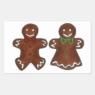 Adesivo Retangular Senhora Mulher Natal Xmas Biscoito do homem de