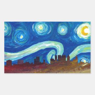 Adesivo Retangular Silhueta da skyline de Atlanta com noite estrelado