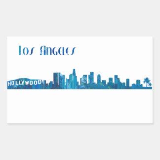 Adesivo Retangular Silhueta da skyline de Los Angeles