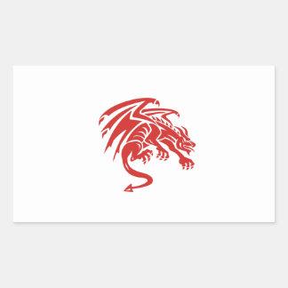 Adesivo Retangular Silhueta de agachamento da gárgula do dragão retro