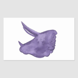 Adesivo Retangular Silhueta roxa do Triceratops