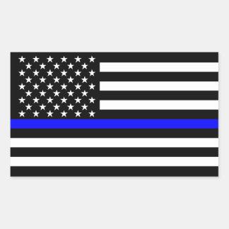Adesivo Retangular Simbólico memorável fino de Blue Line da bandeira