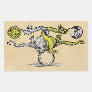 Adesivo Retangular Símbolo dos dragões do ouro & da prata