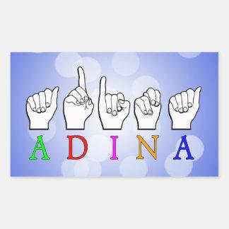 ADESIVO RETANGULAR SINAL CONHECIDO DE ADINA FINGERSPELLED ASL