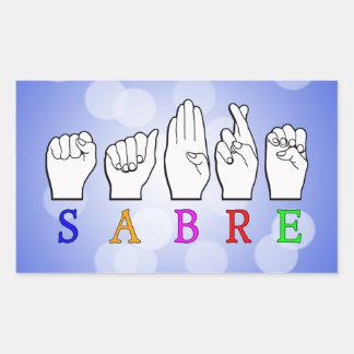 ADESIVO RETANGULAR SINAL CONHECIDO SURDO DO SABRE FINGERSPELLED ASL
