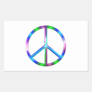Adesivo Retangular Sinal de paz colorido brilhante