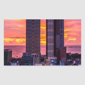 Adesivo Retangular Skyline de Manila Filipinas