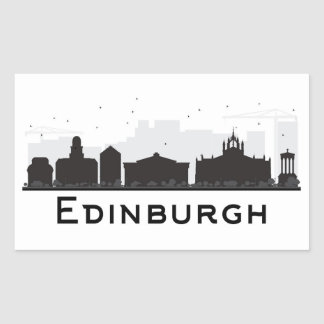 Adesivo Retangular Skyline preto e branco de Edimburgo Scotland |