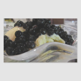 Adesivo Retangular Sorvete da baunilha com uvas-do-monte silvestres