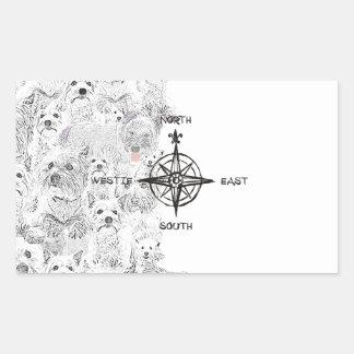 Adesivo Retangular Sudeste norte & cão de Westie