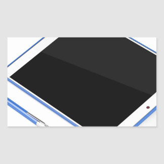 Adesivo Retangular Tabuleta no suporte e na caneta digital