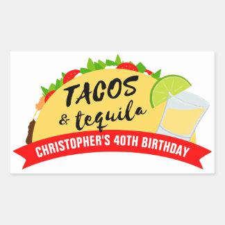 Adesivo Retangular Tacos e festa de aniversário do Tequila