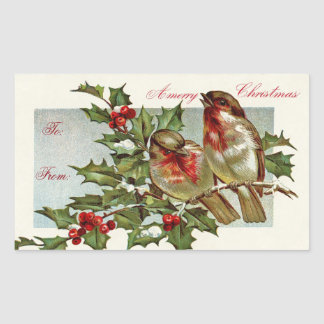 Adesivo Retangular Tag do presente dos pássaros do vintage