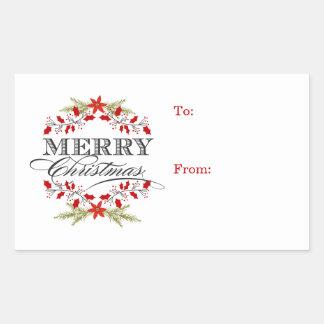 Adesivo Retangular Tag elegantes do presente da tipografia do Natal