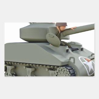 Adesivo Retangular Tanque e soldados dos desenhos animados na