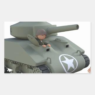 Adesivo Retangular Tanque e soldados dos desenhos animados que vão