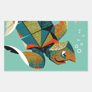 Adesivo Retangular Tartaruga de mar australiana animador